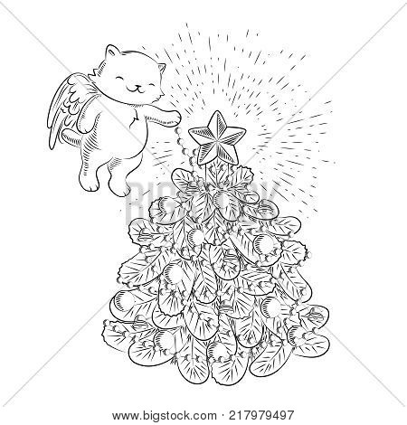 Cute illustration in engraved retro style for Christmas and Happy New Year. Kawaii cat cupid decorating a Christmas tree. Vector illustration. Isolated on white.