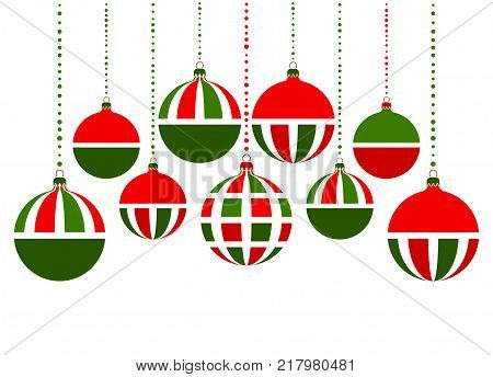 vector christmas balls isolated on white background