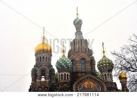 Savior on Spilled Blood Cathedral at snowy day in St.Petersburg Russia.
