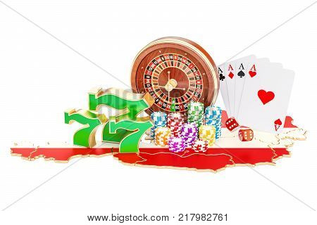 Casino and gambling industry in Austria concept 3D rendering isolated on white background