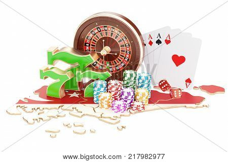 Casino and gambling industry in Singapore concept 3D rendering isolated on white background