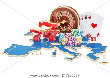 Casino and gambling industry in the EU concept 3D rendering isolated on white background