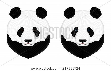 Vector Panda Bear. Vector Illustration of Panda Head in Creative Style with Brown and Blue Eyes