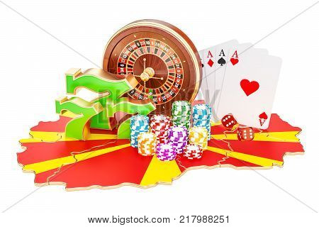 Casino and gambling industry in Macedonia concept 3D rendering isolated on white background