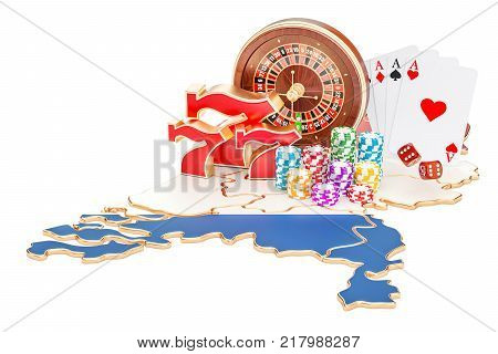 Casino and gambling industry in the Netherlands concept 3D rendering isolated on white background