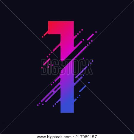Number 1 with liquid splash and drops, abstract colorful digits, ink mathematic symbol, stylized numeral, dynamic paint trail font. Vector