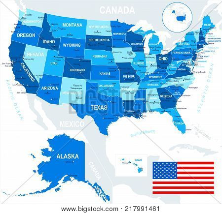 USA map and flag - highly detailed vector illustration