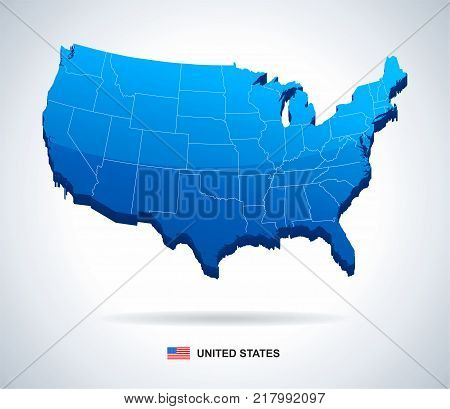 USA map and flag - three dimensional vector illustration