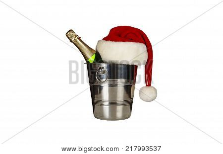 Claus hat isolated on white background.A bottle of champagne in an ice bucket and a Santa