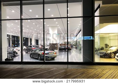 HERZLIYA, ISRAEL- DECEMBER 7, 2017: Office of official dealer Mercedes-Benz. Mercedes-Benz is a global automobile manufacturer and a division of the German company Daimler AG.