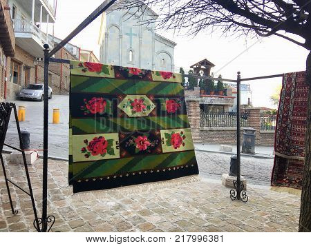 TBILISI , GEORGIA - MARCH 17, 2016: Traditional Georgian carpet. Carpets with typical geometrical patterns are among the most famous products of Georgia.