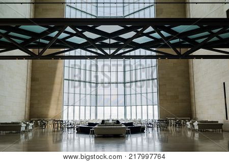 Museum of Islamic Art Doha (Qatar). July 2017. Restaurant bar and main window. The Museum is Doha's most prized architectural icon designed by the world famous architect I.M. PEI