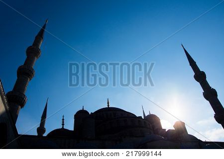 shoot of the roof and minarets of blue mosque from the harem