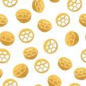Route seamless pattern, realistic style. Vector illustration of an Italian pasta variety of rotelli. Delicious food, gourmet, cooking, exquisite concept poster