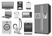 Set of colored home appliances: kitchen stove, refrigerator, microwave, washing machine, vacuum cleaner, electric kettle, steamer, coffee machine, TV, laptop poster