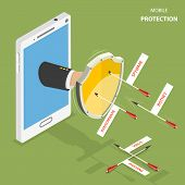 Mobile protection flat isometric vector concept. Man hand with a shield appeared from smartphone to defend it from flying arrows with the captions as phishing, virus, botnet, spyware, ransomware. poster