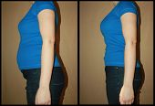 Bloated and flat female belly before and after from the side, no photoshop interventions, no weight loss only bulging and tucked clenched stomach... illustrative image for many topics, slimming belt products, problems with bloating floating poster
