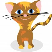 brown smiling kitty on a white background - illustration poster