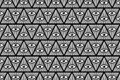 All Seeing Eye of God - black and white - vector pattern , Mason symbols , Eye of Providence poster