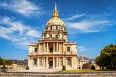 Church of the House of Disabled Paris France. Les Invalides is complex of museums and monuments in Paris military history of France. tomb of Napoleon Bonaparte. poster