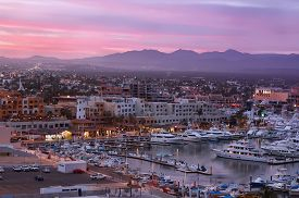 Sunset in Los Cabos (Cabo San Lucas) Mexico. Evening view from above.