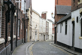 Cobbled Street In Chester England