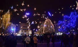 LJUBLJANA - SLOVENIA - DECEMBER 1, 2017: Official lighting of holiday christmas lights in the center of Ljubljana, the capital of Slovenia.