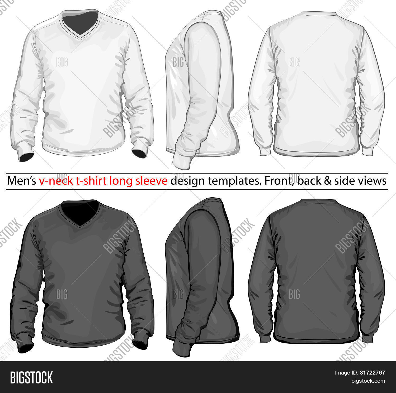 Vector. Men's V-neck Long Sleeve T Vector & Photo