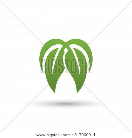 Green Leaf Icon Vector Isolated On White Background, 2 Leaf Combination Shape, Green Leaf Vector Ico