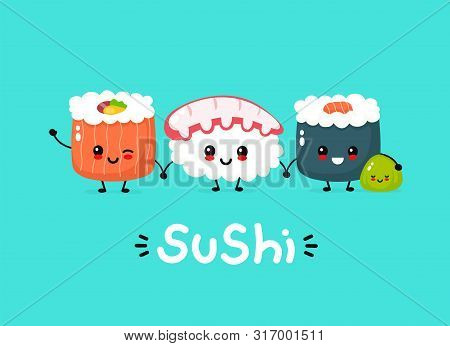 Cute Happy Funny Smiling Sushi,roll And Wasabi. Vector Flat Cartoon Kawaii Character Illustration Ic