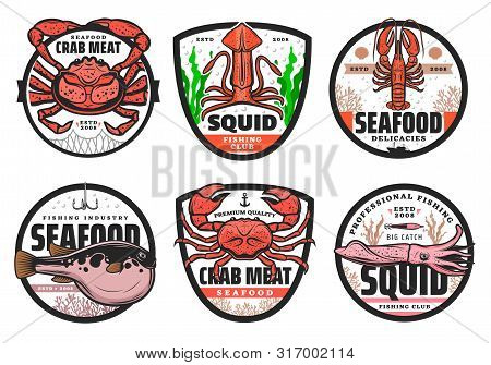 Fishing Club Badges, Seafood Fishery Shop And Fish Catch Industry Icons. Vector Fugu Puffer Fish On