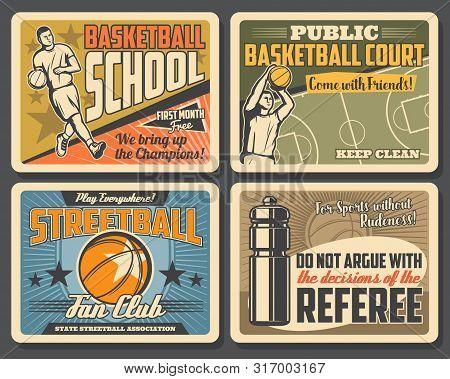 Basketball League Tournament, Streetball Sport Championship Vintage Posters. Vector Basketball Schoo