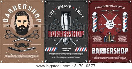 Barbershop Professional Men Hairdresser Salon Vintage Posters. Vector Mustaches Trim, Shave And Hair