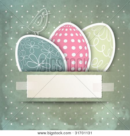 Template for happy Easter card with eggs, bird and copy space