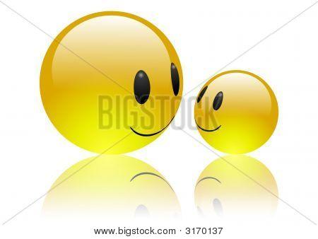 Aqua Emoticons In 3D  - Friendship [Reflection]