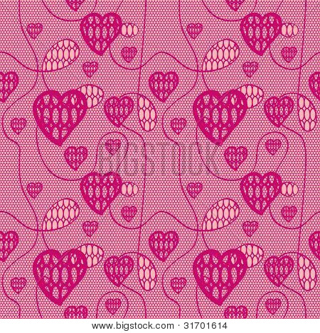 Lace seamless pattern with hearts