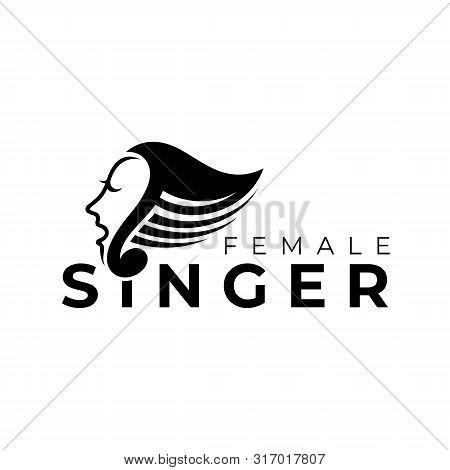 Singer With Music Note Logo.flat Style.choir Vector Illustration.modern Musical Design
