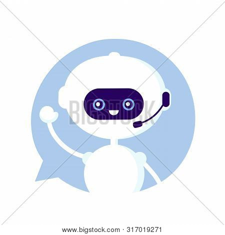 Cute Smiling Funny Robot, Chat Bot In Speech Bubble. Vector Modern Flat Cartoon Character Illustrati