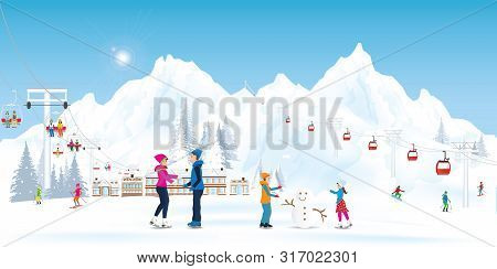 Winter Holidays Recreation Sport Activity. Ski Resort Landscape With Cable Cars Or Aerial Lift And S