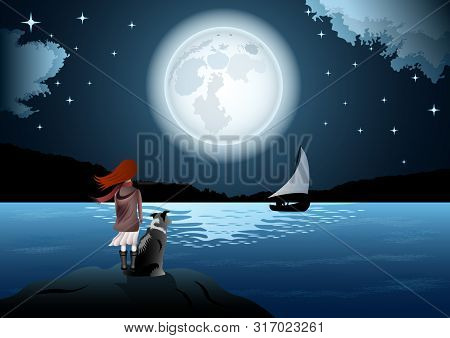 Girl With A Dog, Rear View, By The Sea On The Background Of Huge Full Moon And Starry Sky. The Man I
