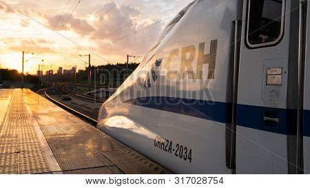 Yichang China, 11 August 2019 : Head Of A Crh Chinese Bullet Train At Sunset At Yichang Station In C
