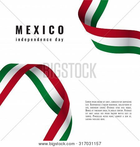 Viva Mexico Background With Ribbon Independence Day Vector