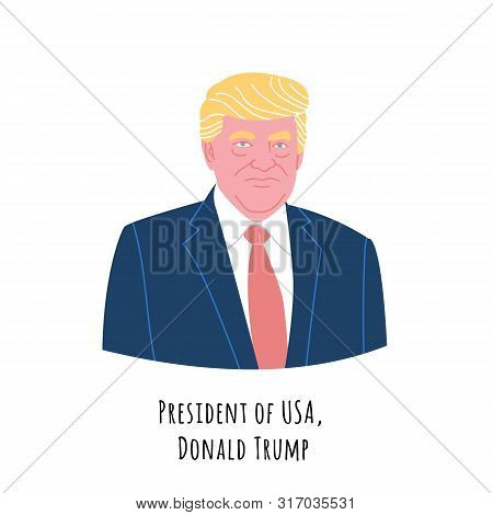 Donald Trump Hand Drawn Color Portrait Illustration. President Of The United States Of America. Resp