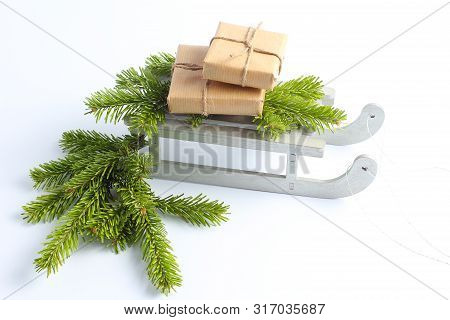 Christmas Sleigh With Gifts. New Years Minimal Concept.