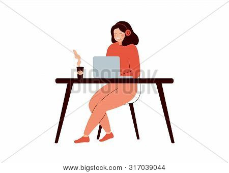 Happy Woman Sitting At Desk And Working On Laptop Computer. Young Female Helpline Operator With Head