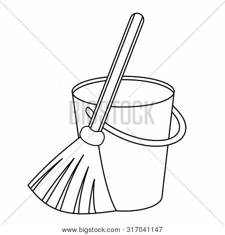 Outline Icon Besom With Stick And Pail With Handle. Silhouette Broom And Bucket Simple Line Vector T