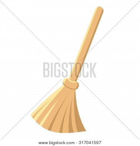 Yellow Wooden Broom Or Besom With Stick. Housework Tool For Cleaning Garbage In The House And On Str