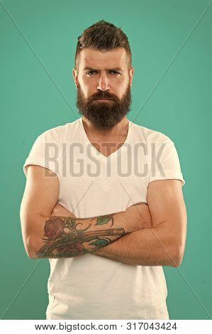Expressing Confidence. Confident Man. Brutal Man With Long Beard Hair And Mustache. Caucasian Man Wi