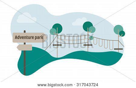 Tourism Day Banner For Web. Extreme Adventure Park Vector Illustration