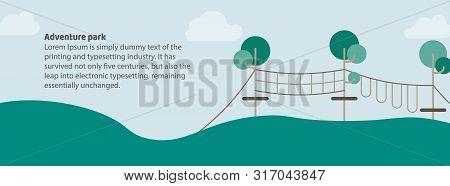 Adventure Park Banner For Web. Tourism Day Vector Illustration
